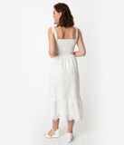Vintage Style White Cotton Eyelet Lace Smocked Midi Dress