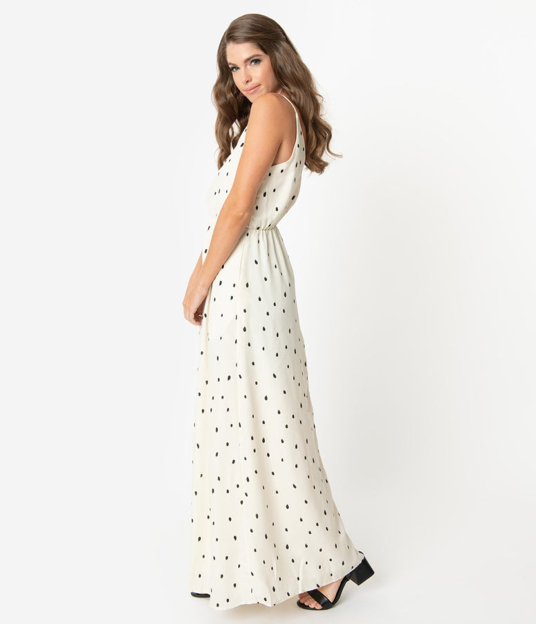 Ivory & Black Brushed Dots Print Sleeveless Maxi Dress