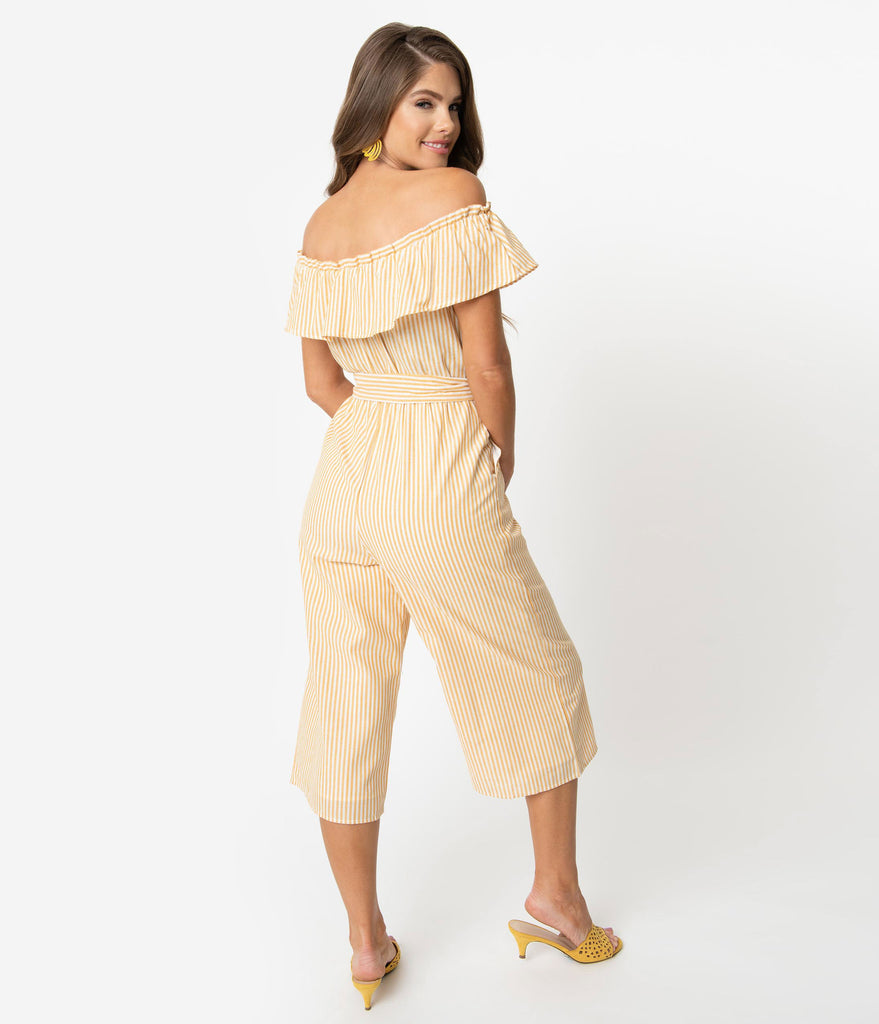 1970s Yellow & Ivory Stripe Woven Ruffle Off The Shoulder Cropped Jumpsuit