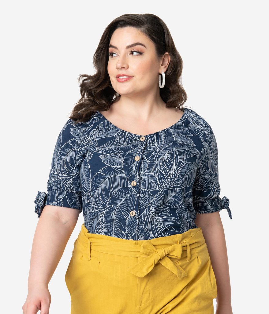 Plus Size Navy & White Tropical Palm Print Crepe Button Up Blouse