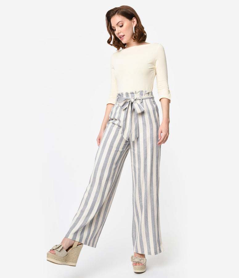 Retro Style Grey & Ivory Stripe Paper Bag High Waist Pants