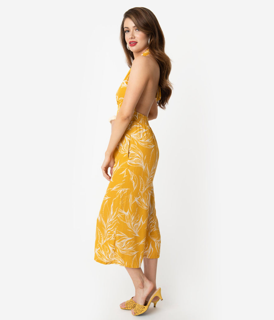 Retro Style Mustard Yellow & White Palm Print Halter Jumpsuit