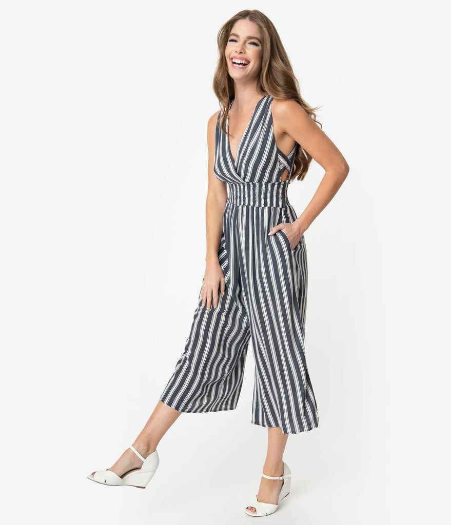 Grey & White Stripe Woven Sleeveless Culotte Jumpsuit
