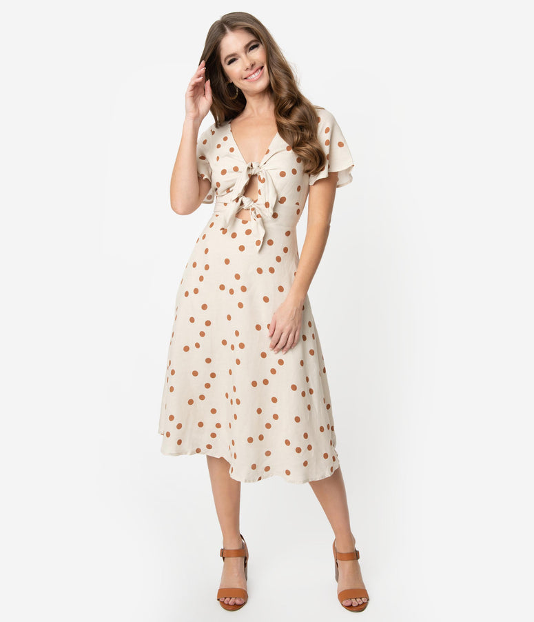 Retro Style Beige & Brown Polka Dot Short Sleeve Front Tie Midi Dress
