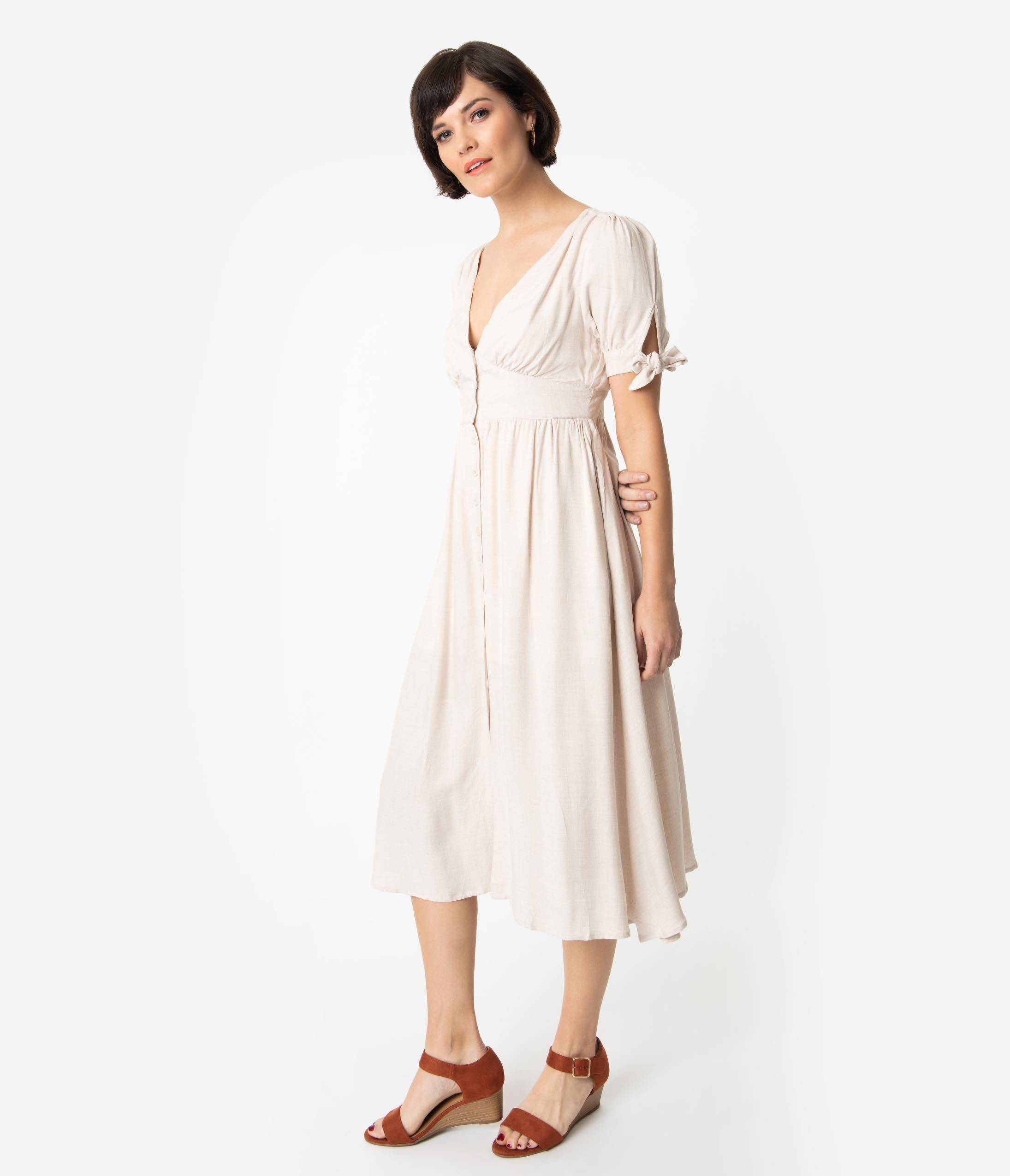 b7f4cc0c3e 1930s Style Toasted Oatmeal Woven Short Sleeve Button Up Midi Dress