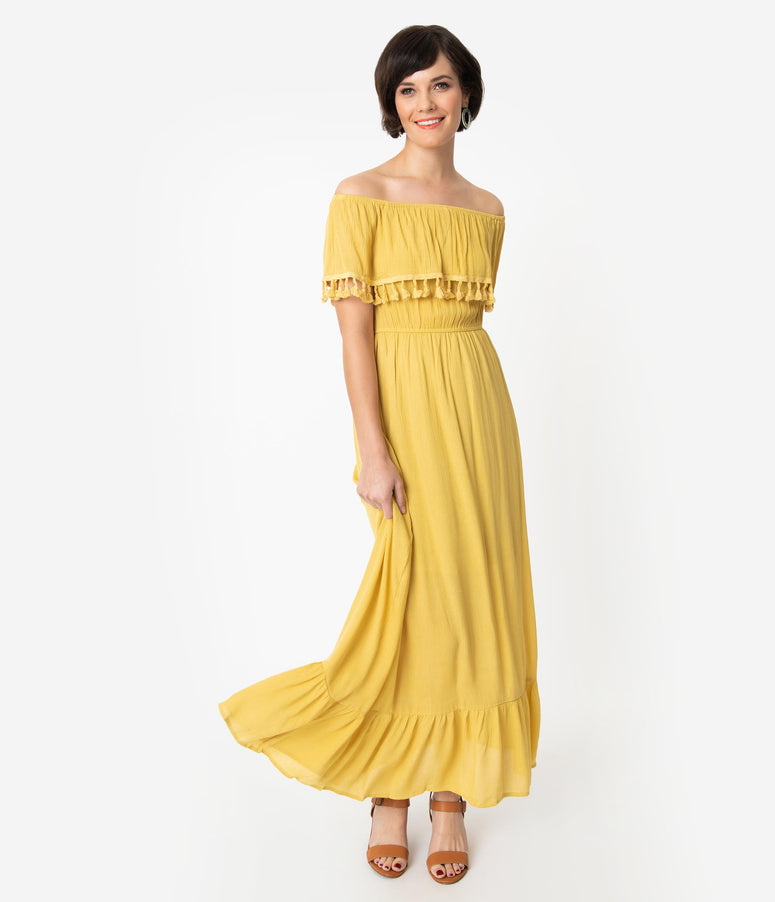 Vintage Style Mustard Yellow Off The Shoulder Ruffled Maxi Dress