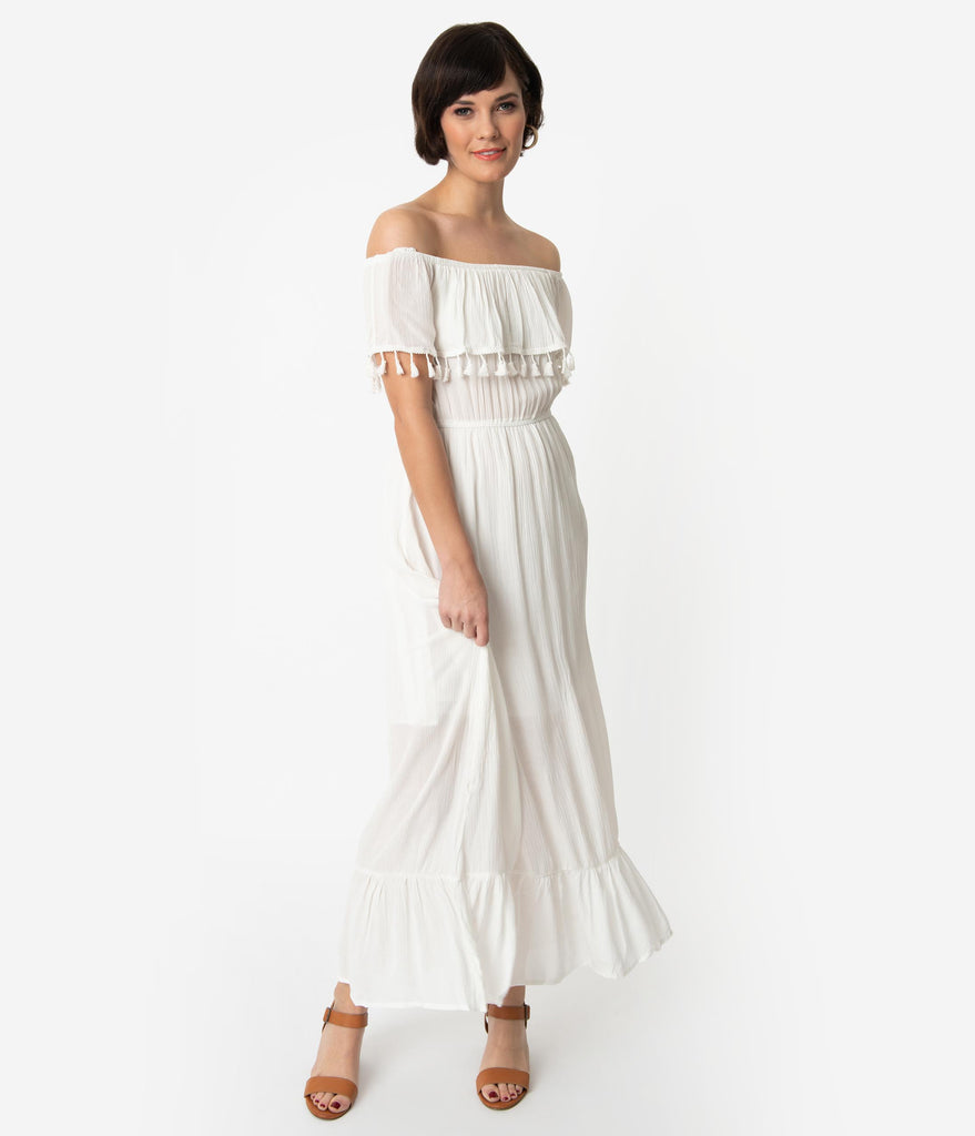 abf5f0bb2c04 Vintage Style White Off The Shoulder Ruffled Maxi Dress – Unique Vintage