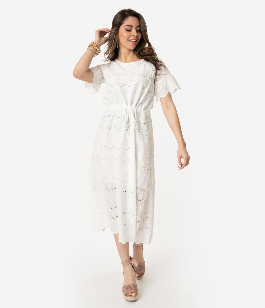 8a4a179844db Vintage Style White Cotton Embroidered Floral & Eyelet Midi Dress – Unique  Vintage