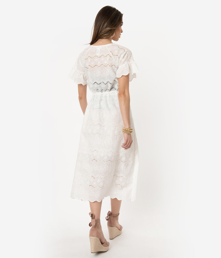8f1e5dee726 ... Vintage Style White Cotton Embroidered Floral   Eyelet Midi Dress ...
