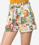 Vintage Style Mint Tropical Floral Print High Waist Shorts