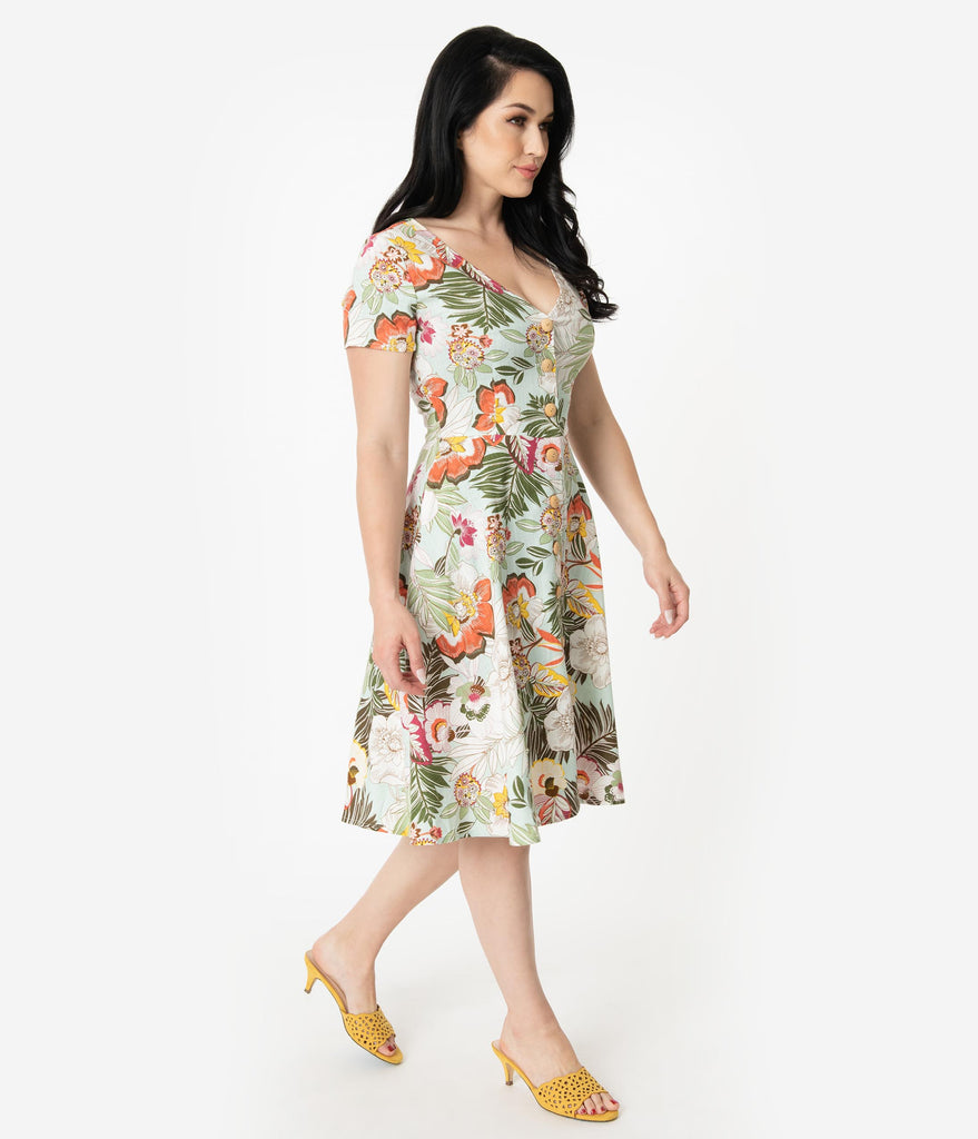 1950s Style Mint Tropical Floral Print Short Sleeve Button Up Swing Dress