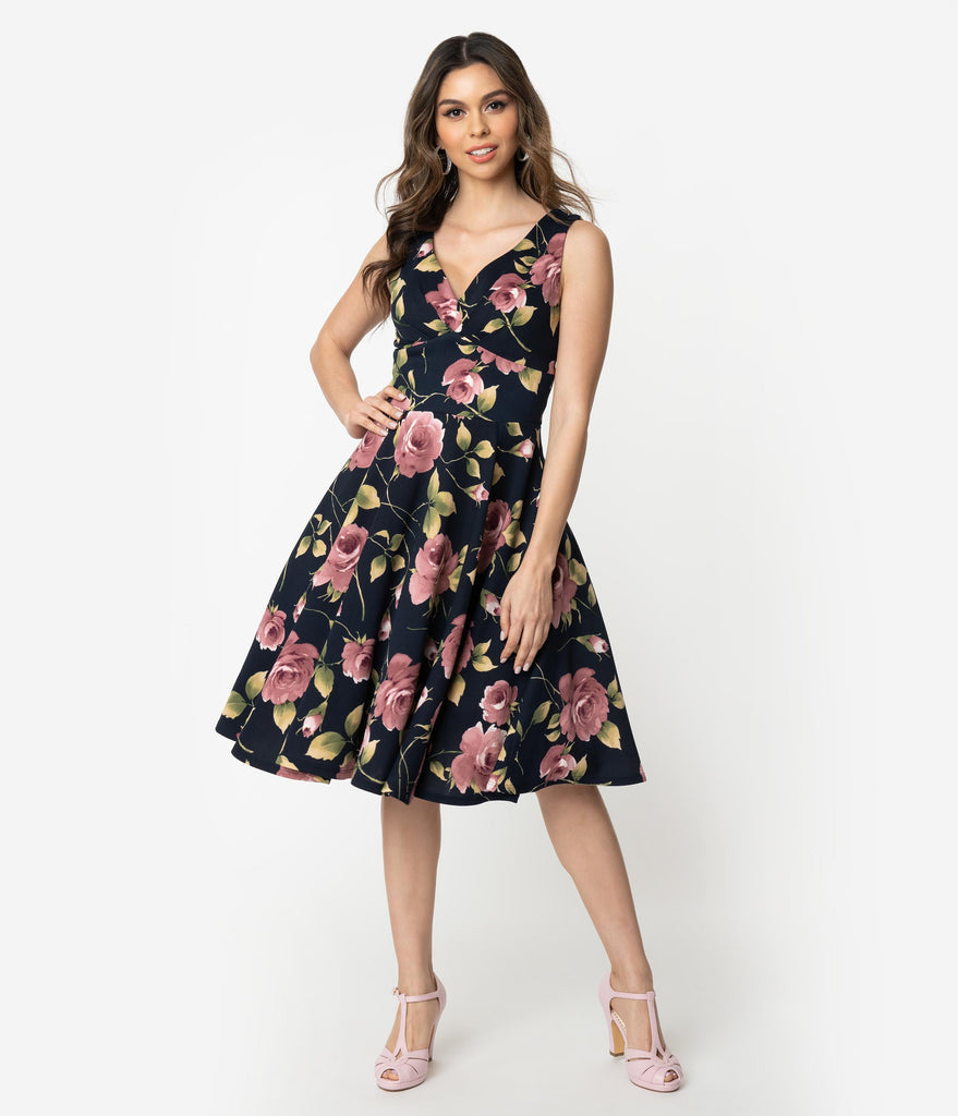 31f2584f198d 1950s Style Navy & Pink Floral Print Sleeveless Swing Dress – Unique Vintage