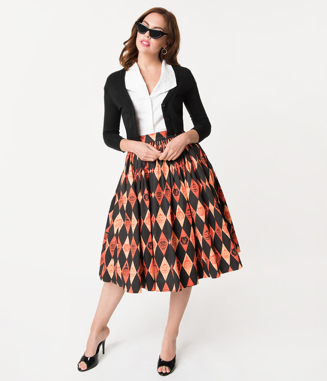Retro Skirts: Vintage, Pencil, Circle, & Plus Sizes Vixen By Micheline Pitt Orange Ben Cooper Trick R Treat Skirt $100.00 AT vintagedancer.com