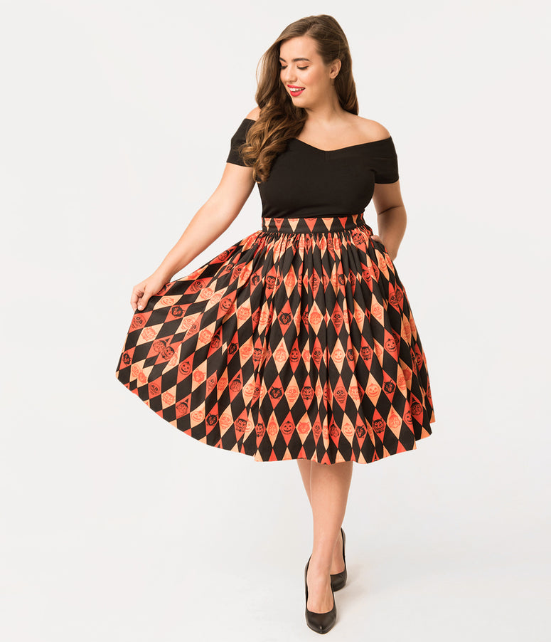Vixen by Micheline Pitt Plus Size Orange Ben Cooper Trick R Treat Skirt