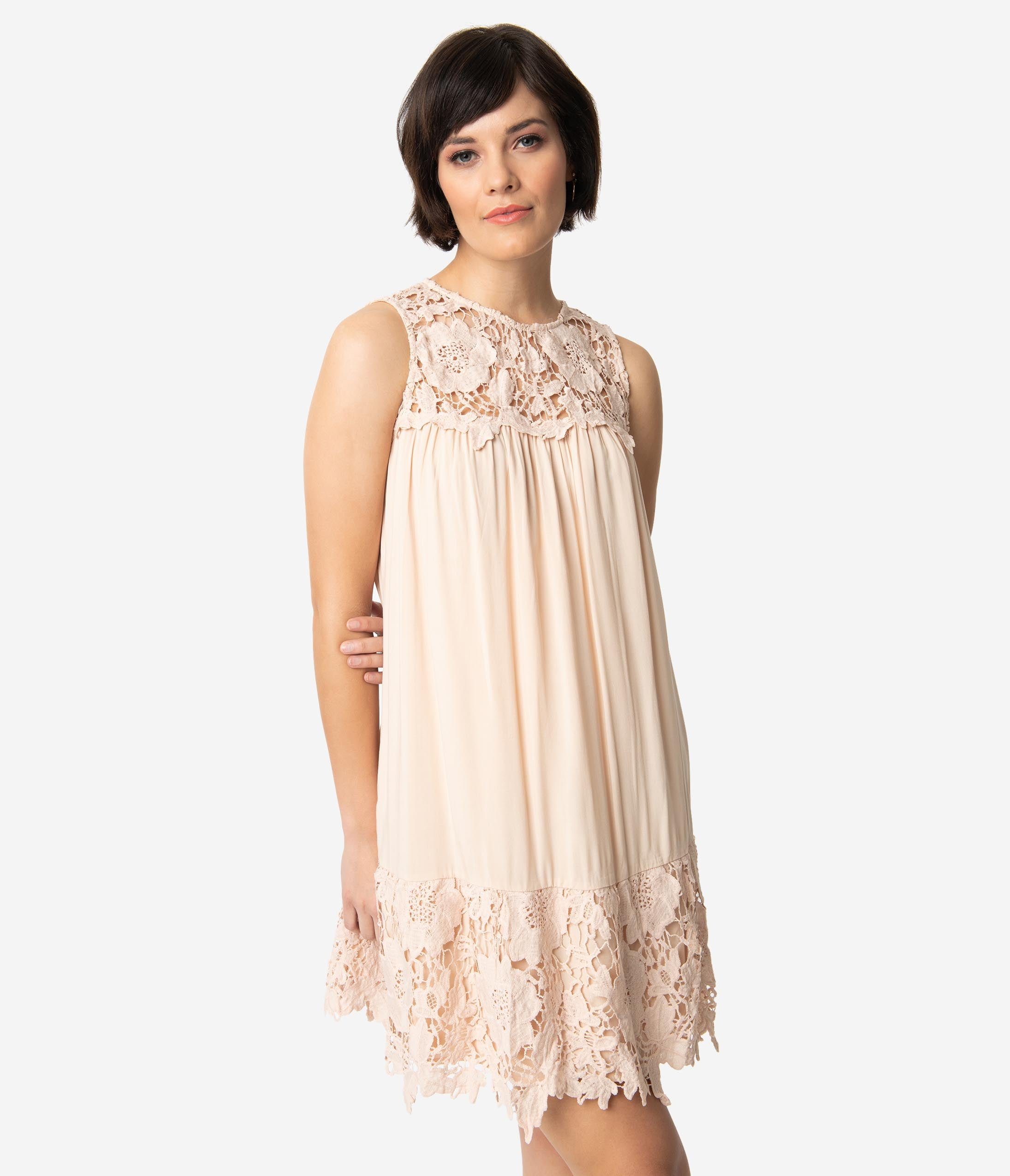 1960s – 70s Cocktail, Party, Prom, Evening Dresses Peach Pink Sleeveless Crochet Lace Tent Dress $36.00 AT vintagedancer.com