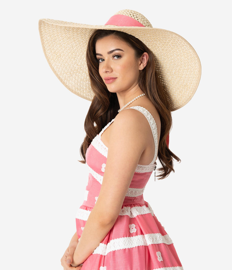 9afbff0fd1e Unique Vintage Retro Woven Coral Pink Ribbon Wide Brim Sun Hat