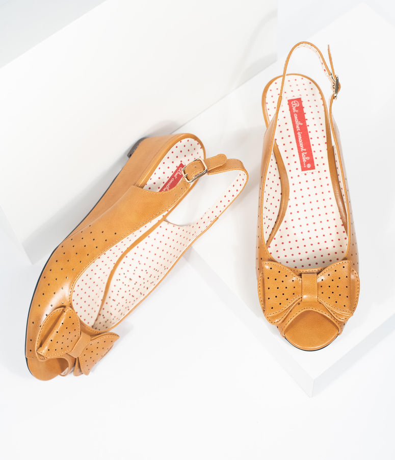 B.A.I.T. 1950s Style Tan Leatherette Perforated Bow Jasmin Peep Toe Sling Back Sandals
