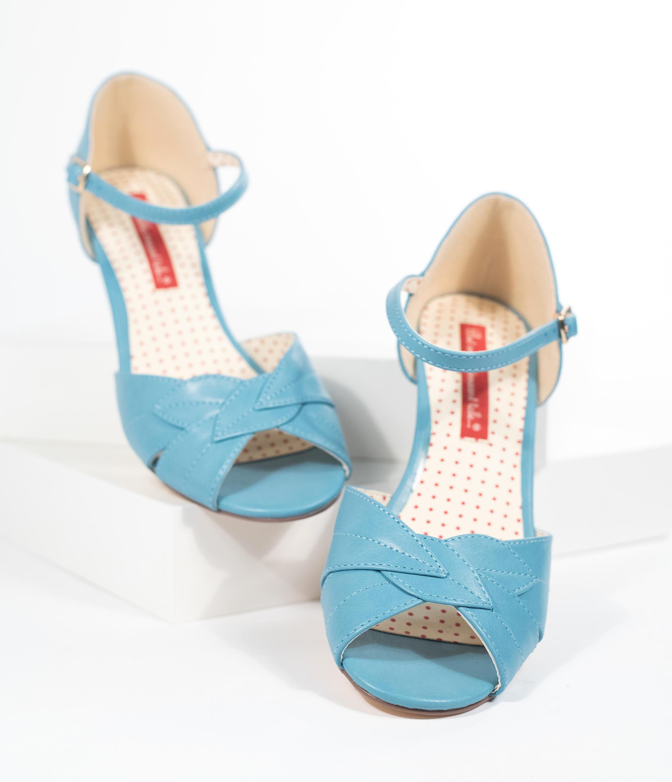 1950s Shoe Styles: Heels, Flats, Sandals, Saddles Shoes B.a.i.t. 1950S Style Cornflower Blue Leatherette Leaf Peep Toe Danita Wedges $70.00 AT vintagedancer.com