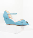 B.A.I.T. 1950s Style Cornflower Blue Leatherette Leaf Peep Toe Danita Wedges