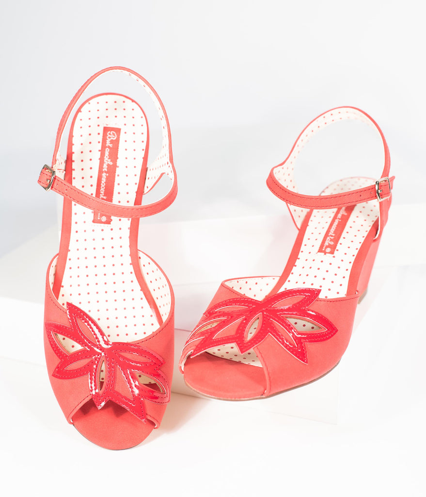 B.A.I.T. Red Smooth Leatherette Peep Toe Cutout Daisy Wedges