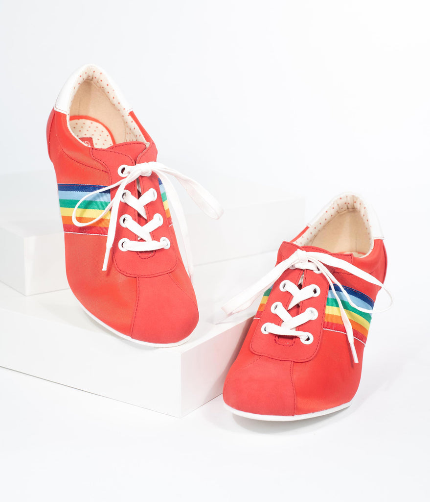 8bb89ccff B.A.I.T. 1970s Style Red Suede Rainbow Oxford Lace Up Dallas Wedges –  Unique Vintage