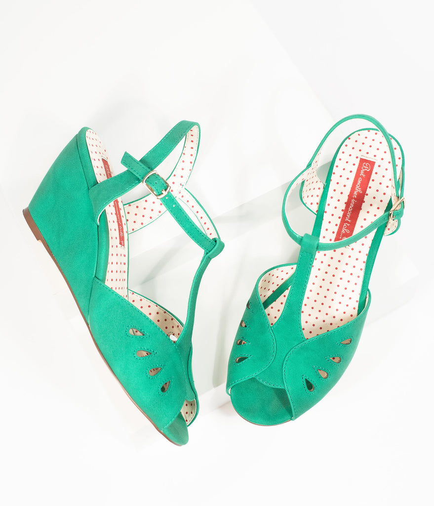 B.A.I.T. Green Soft Leatherette Peep Toe T-Strap Dazzle Wedges