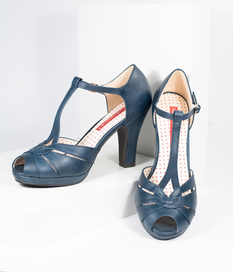 057db589acf B.A.I.T. Navy Blue Leatherette Peep Toe T-Strap Lacey Heels