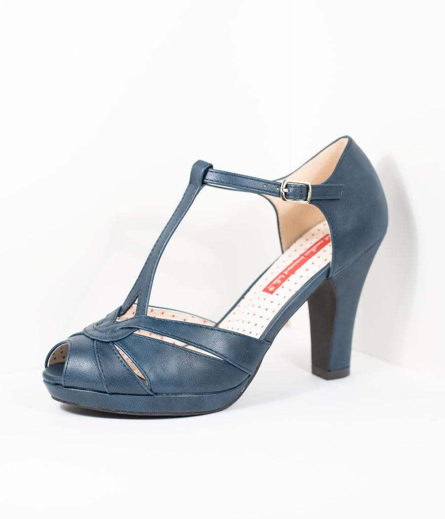 B.A.I.T. Navy Blue Leatherette Peep Toe T-Strap Lacey Heels