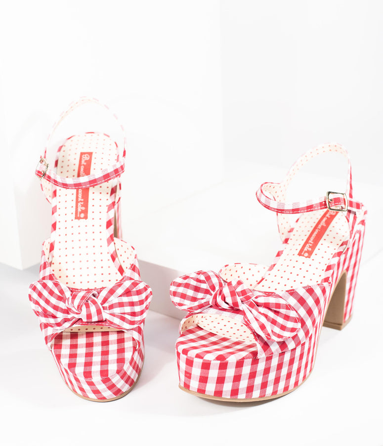 B.A.I.T. Red & White Gingham Bow Platform Peep Toe Heels