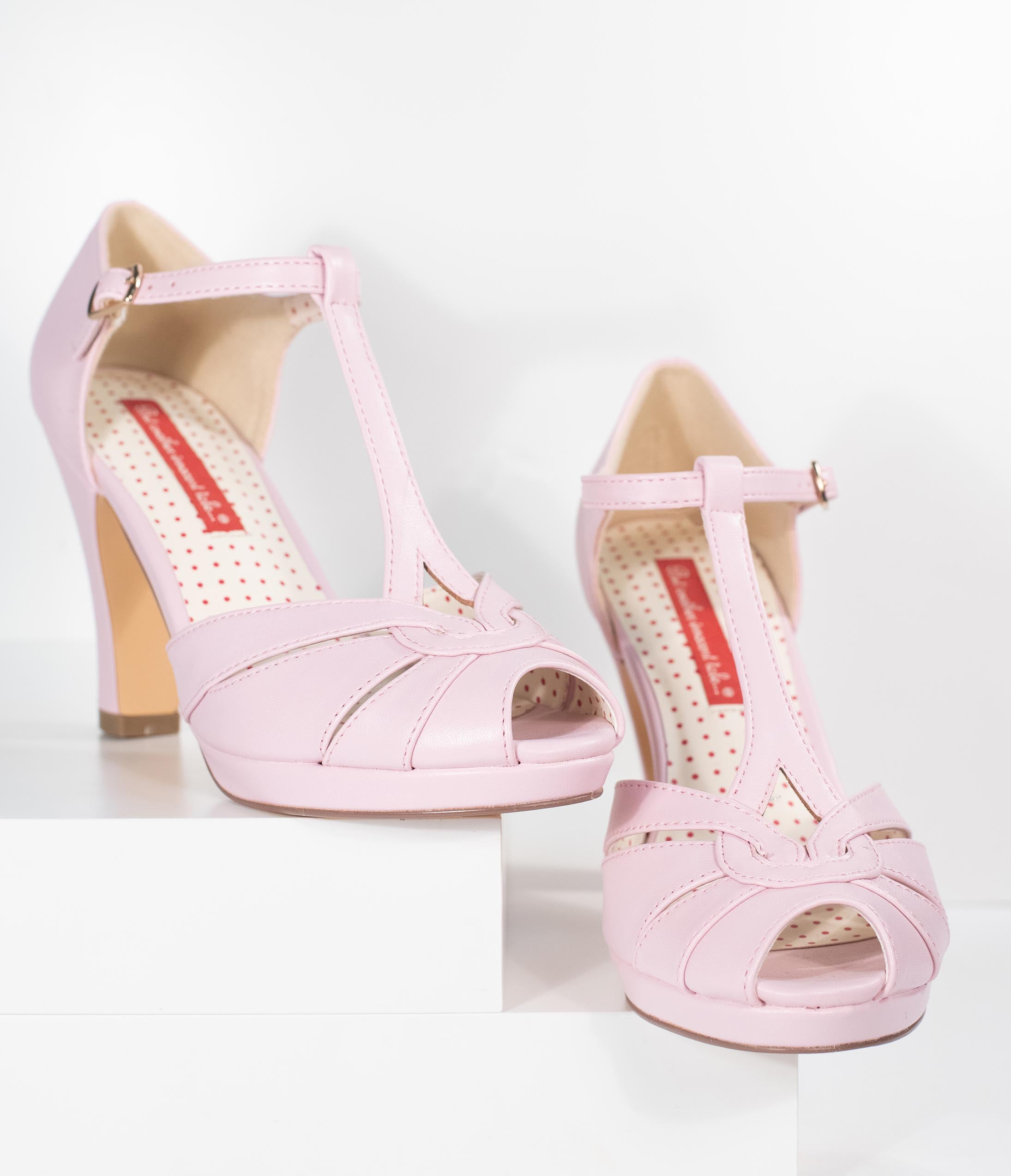 1940s Womens Footwear B.a.i.t. Pale Pink Leatherette Peep Toe T-Strap Lacey Heels $76.00 AT vintagedancer.com