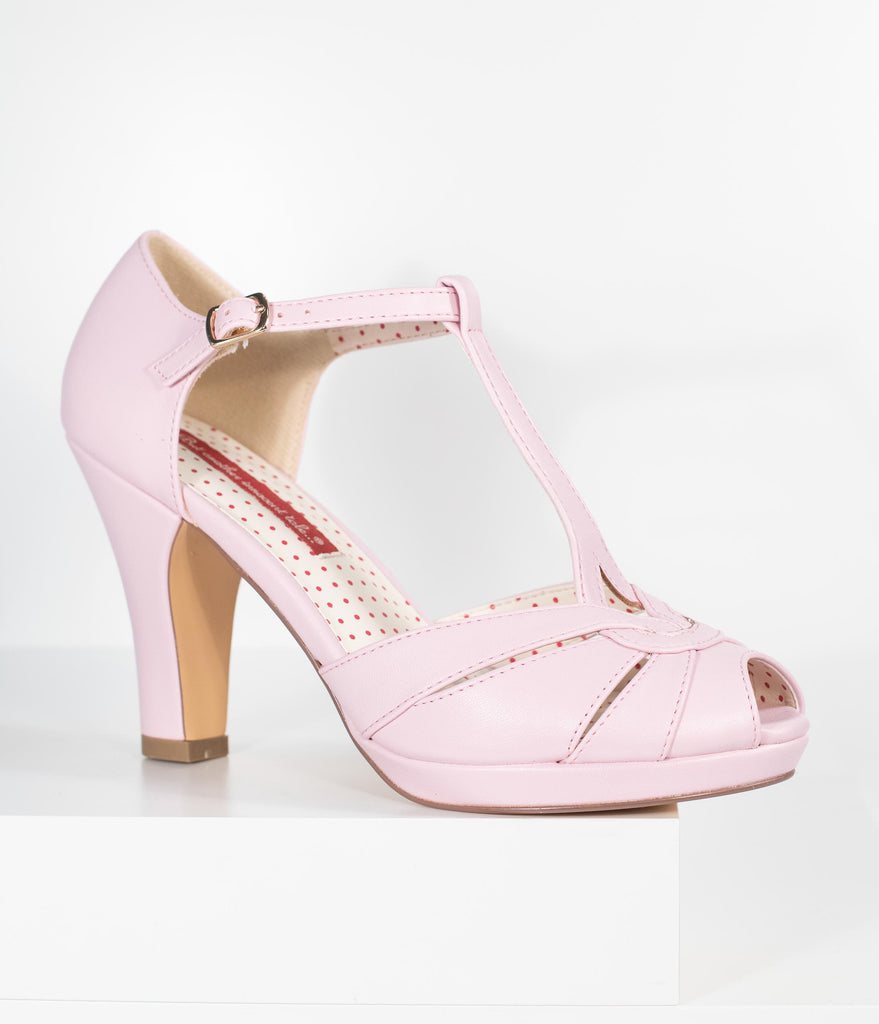 B.A.I.T. Pale Pink Leatherette Peep Toe T-Strap Lacey Heels