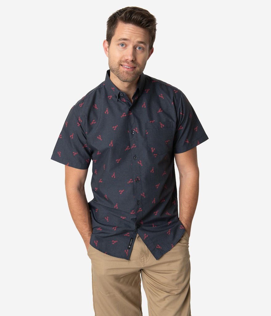 Navy Cotton Lobster Mens Button Up Shirt