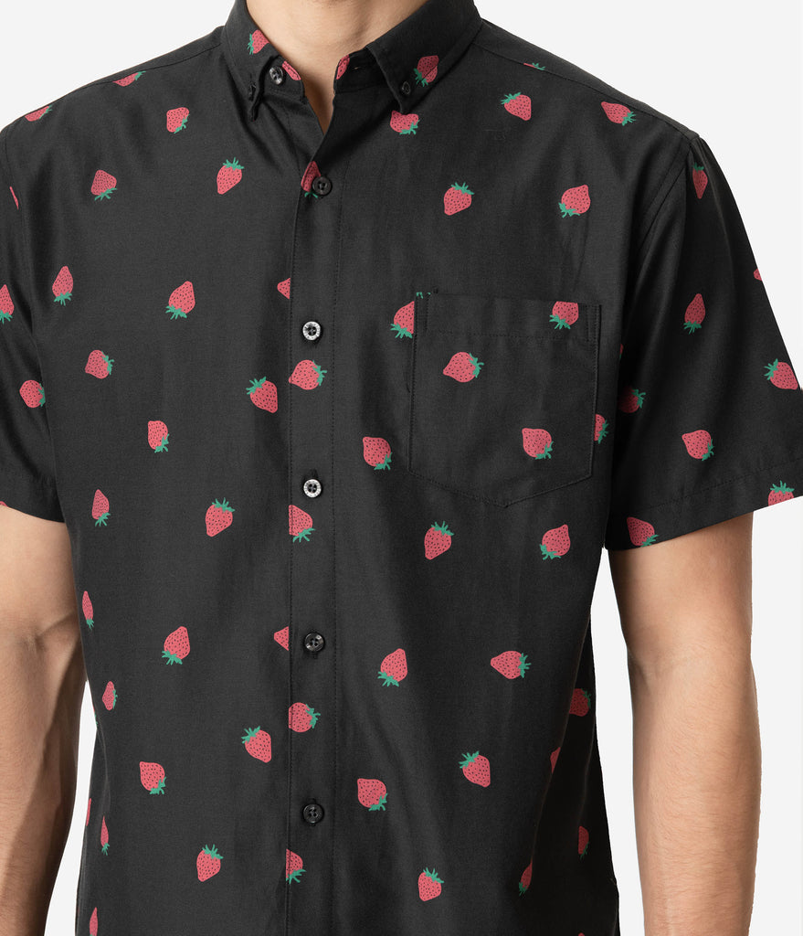 Black & Pink Strawberry Print Cotton Button Up Mens Shirt