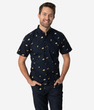 Navy Cotton Banana Mens Button Up Shirt