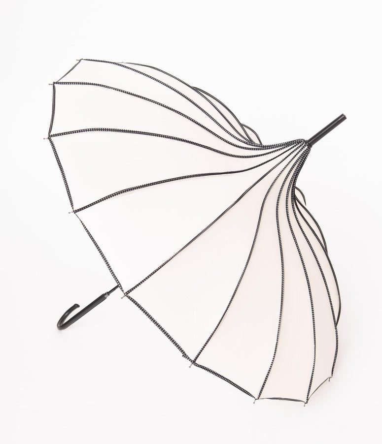 Vintage Style Ivory & Black Polka Dot Princess Pagoda Umbrella