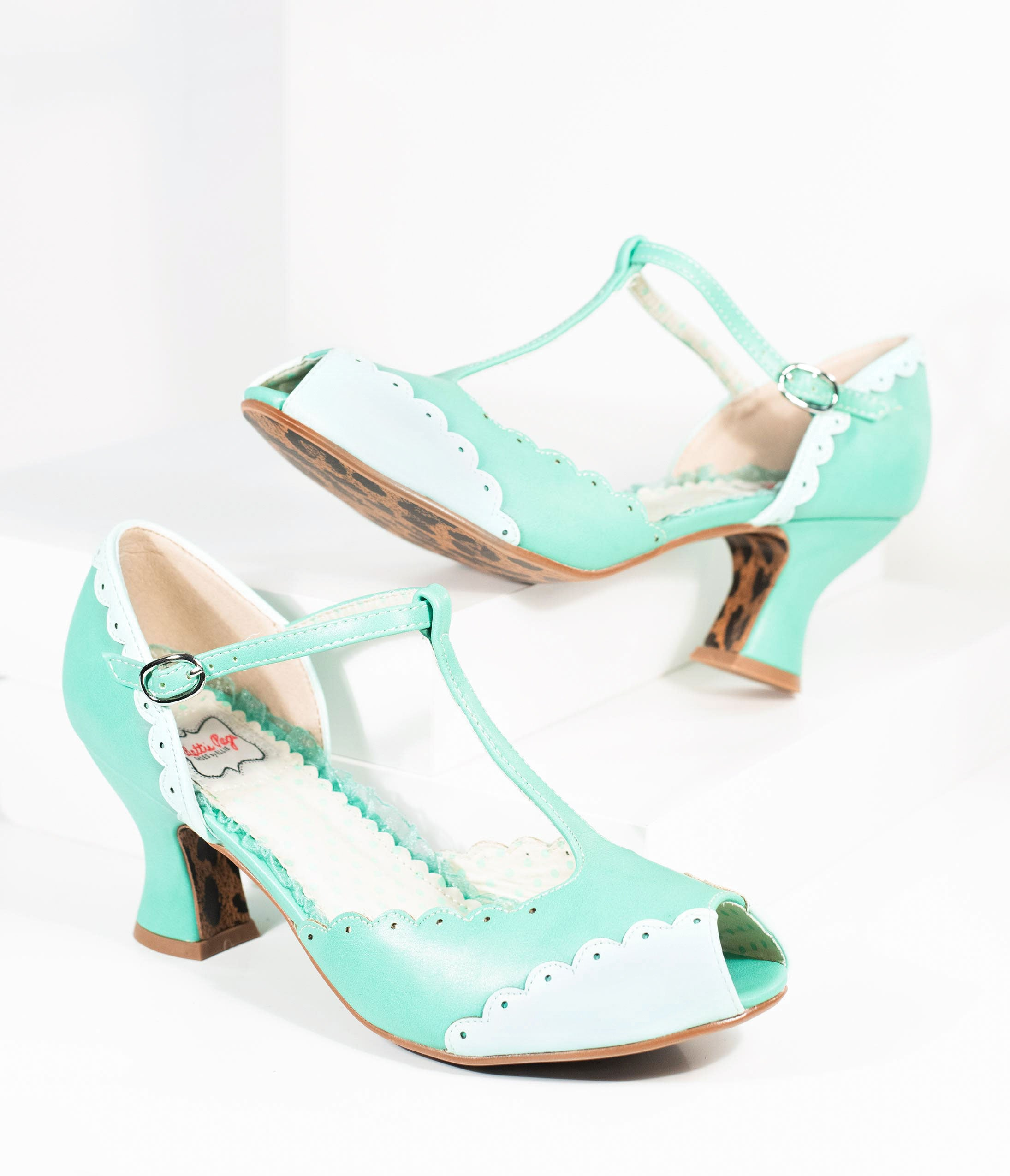 Rockabilly Shoes- Heels, Pumps, Boots, Flats Bettie Page 1940S Turquoise Mint Scalloped Peep Toe T-Strap Carlie Heels $82.00 AT vintagedancer.com