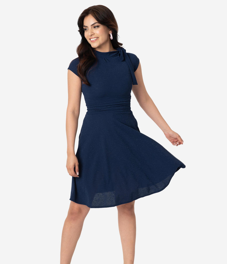 Folter Navy Stardust Bombshell Swing Dress