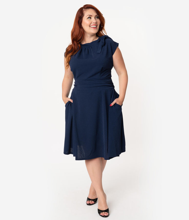 Folter Plus Size Navy Stardust Bombshell Swing Dress