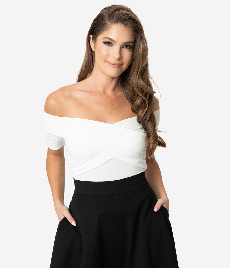 Ivory Off Shoulder Short Sleeve Bodysuit