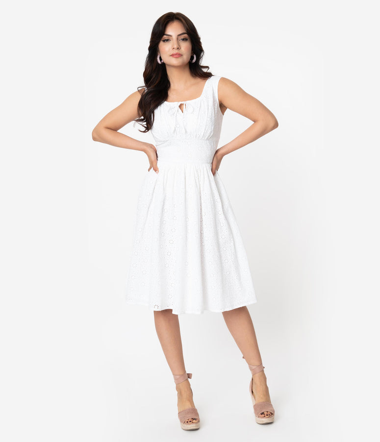 White Cotton Daisy Chain Eyelet Victoria Swing Dress