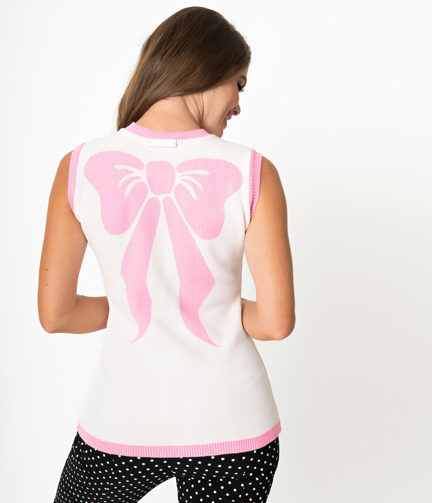 Elhoffer Design White & Pink Bow Knit Shell Sweater
