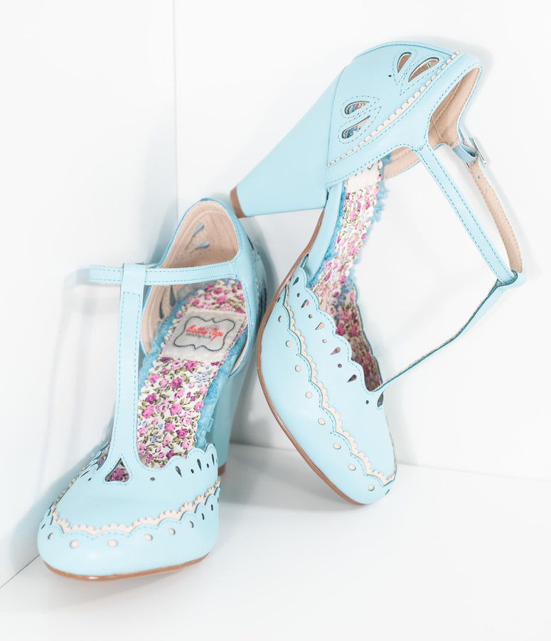 Bettie Page Light Blue Scalloped Leatherette T-Strap Birdie Pumps