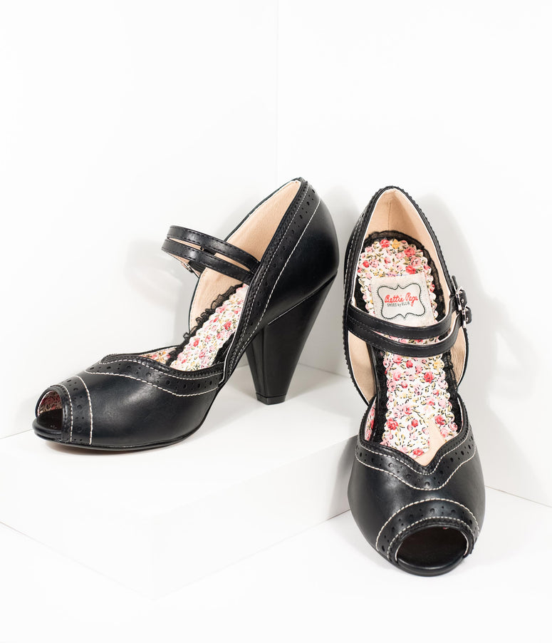 Bettie Page Black Leatherette Peep Toe Double Strap Nellie Pumps