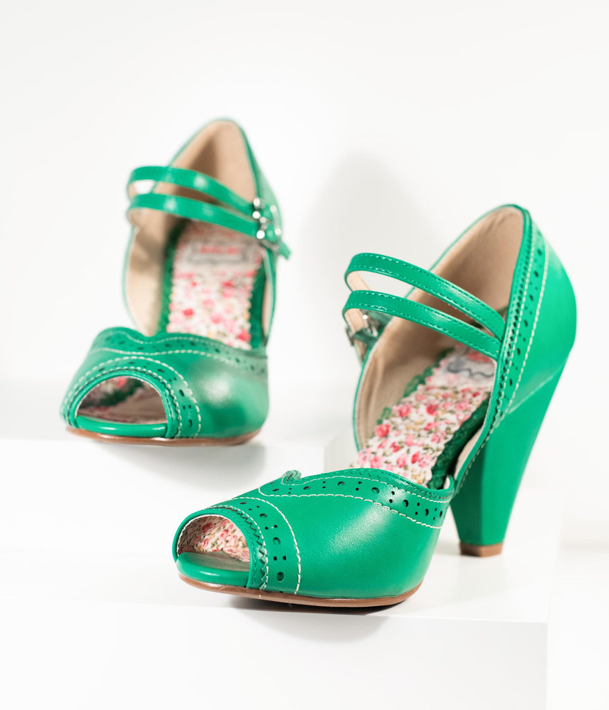 Bettie Page Green Leatherette Peep Toe Double Strap Nellie Pumps