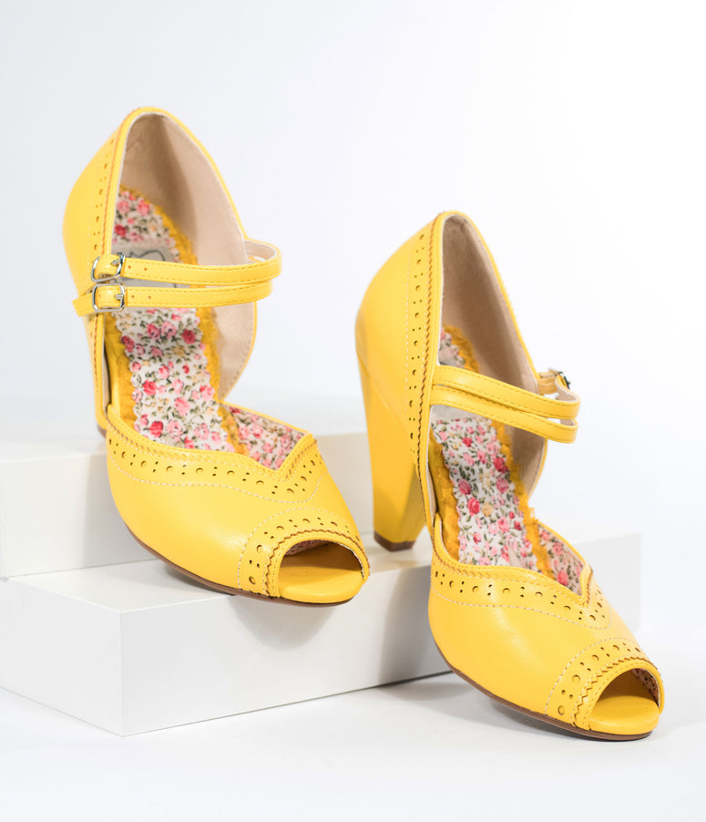 dc2b06eeaec1 Bettie Page Yellow Leatherette Peep Toe Double Strap Nellie Pumps