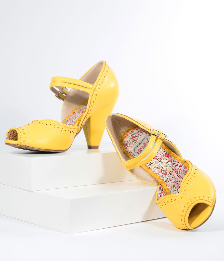 Bettie Page Yellow Leatherette Peep Toe Double Strap Nellie Pumps