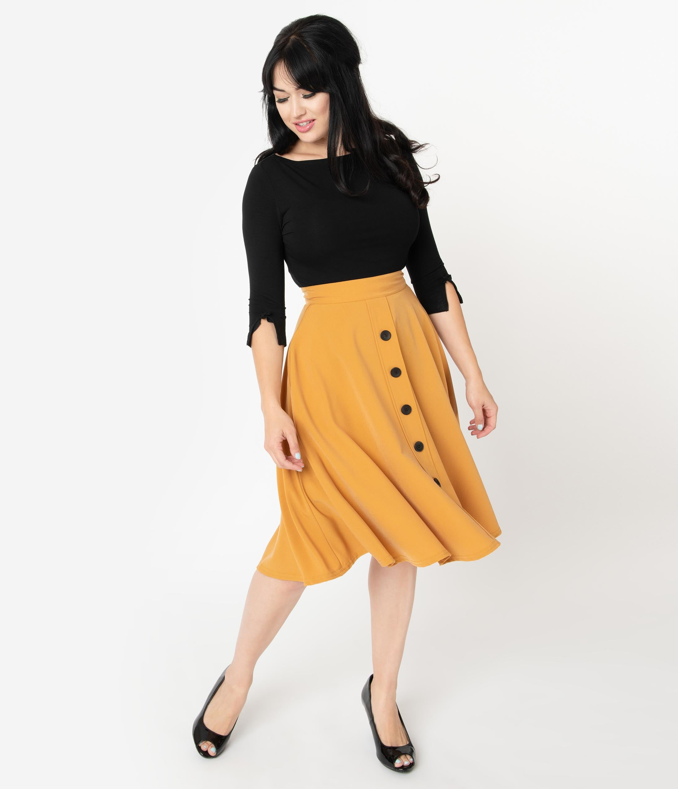 1950s Swing Skirt, Poodle Skirt, Pencil Skirts Steady 1950S Style Mustard Yellow High Waisted Thrills Skirt $52.00 AT vintagedancer.com