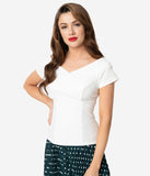 Steady Ivory Crepe Off Shoulder Short Sleeve Betty Top