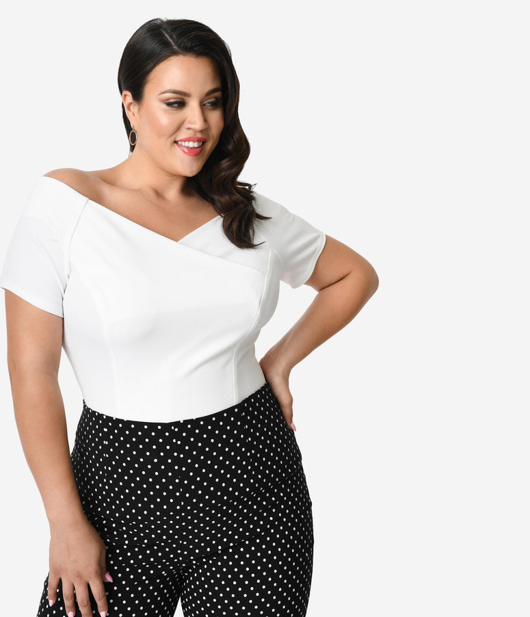 525a6d34f6063 Steady Plus Size Ivory Crepe Off Shoulder Short Sleeve Betty Top