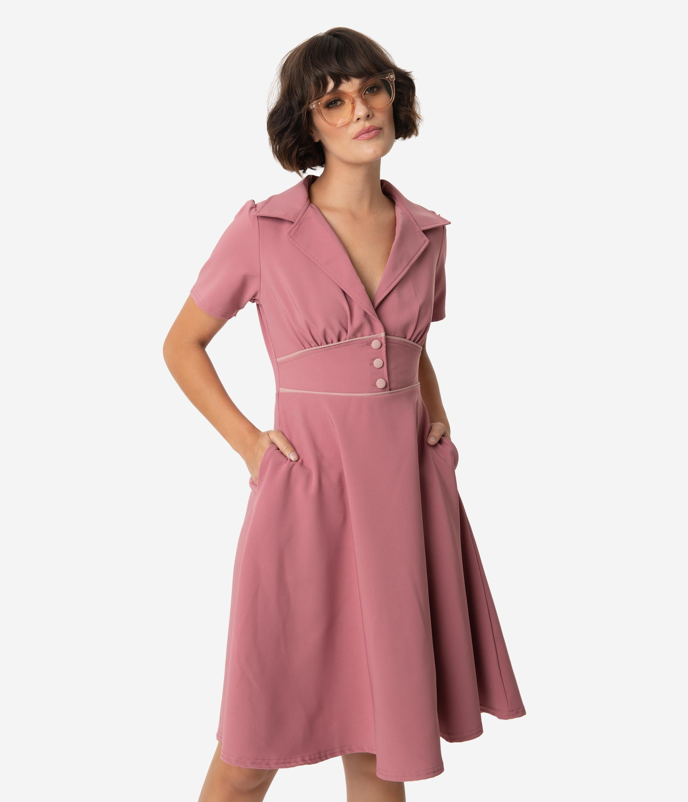 1940s Clothing Steady 1940S Style Mulberry Pink Katherine Swing Dress $74.00 AT vintagedancer.com